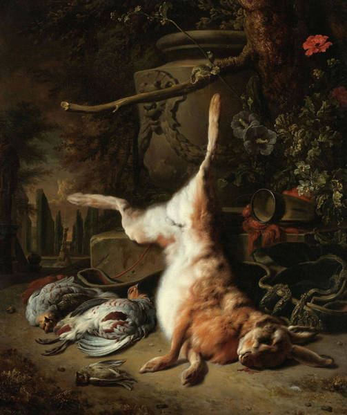 Wall Art - Painting - Still Life With A Hare And Other Game, 1697 by Jan Weenix