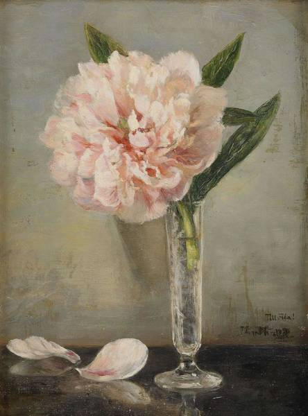 Wall Art - Painting - Still Life With A Peony  by Anna Munthe Norstedt