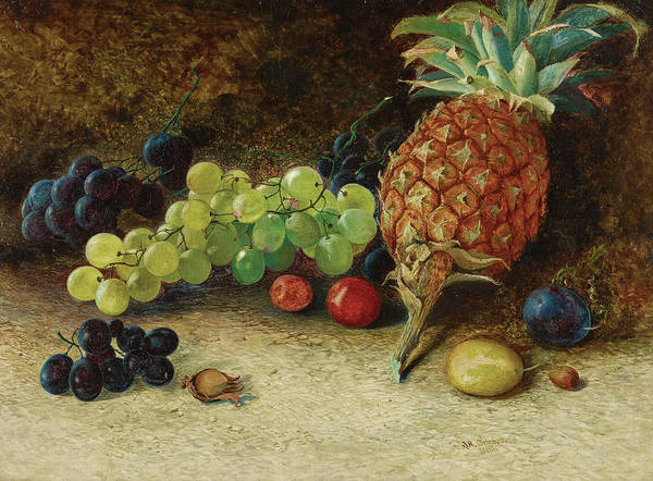 Wall Art - Painting - Still Life With A Pineapple, Grapaes, Nuts And Plum, 1862 by John Atkinson Grimshaw