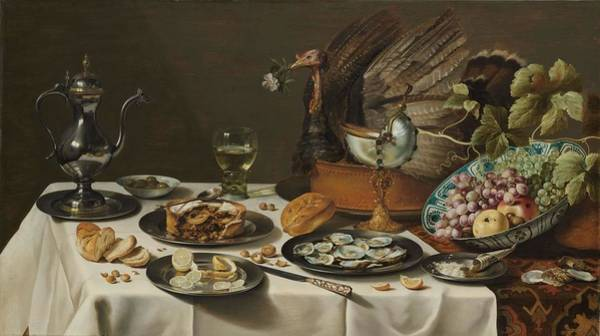 Apple Peel Painting - Still Life With A Turkey Pie. Still Life With Turkey Pie. by Pieter Claesz -mentioned on object-
