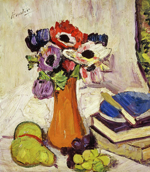 Gladiolus Painting - Still Life With Anemones And Fruit, 1925 by Leslie Hunter