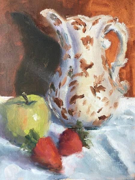 Wall Art - Painting - Still Life With Apple by Susan Elizabeth Jones