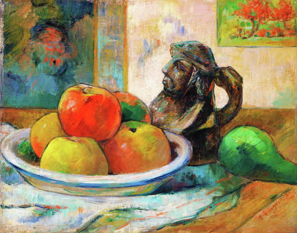Gauguin Painting - Still Life With Apples, A Pear, And A Ceramic Portrait Jug - Digital Remastered Edition by Paul Gauguin