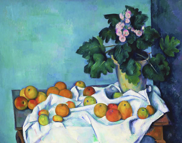 Felicitous Wall Art - Painting - Still Life With Apples And A Pot Of Primroses - Digital Remastered Edition by Paul Cezanne