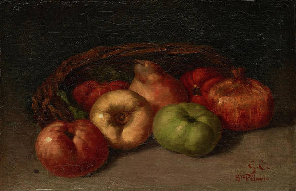 Apple Peel Painting - Still Life With Apples, Pear, And Pomegranates by Gustave Courbet