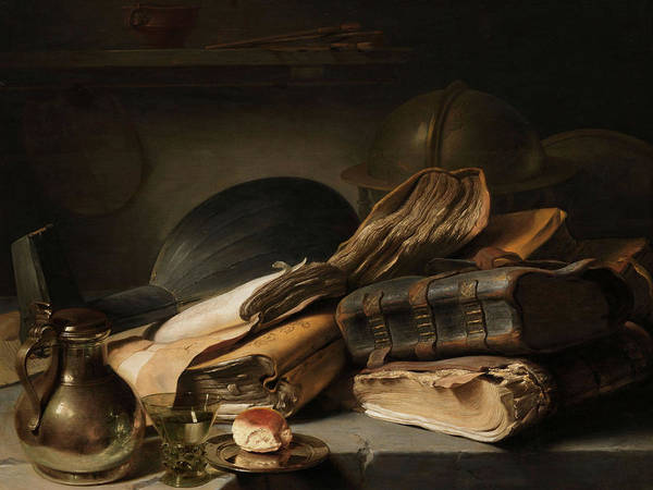 Wall Art - Painting - Still Life With Books, 1628 by Jan Lievens