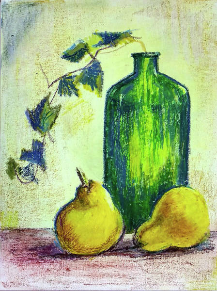 Wall Art - Painting - Still Life With Bottle And Pears by Asha Sudhaker Shenoy