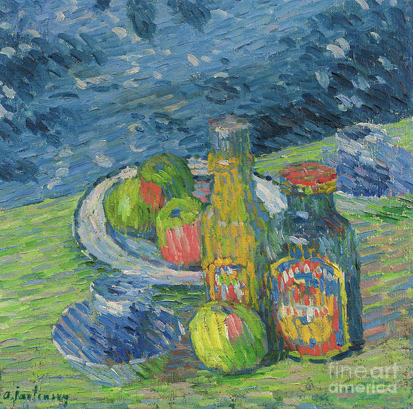 Wall Art - Painting - Still Life With Bottles And Fruit, 1900 by Alexej von Jawlensky