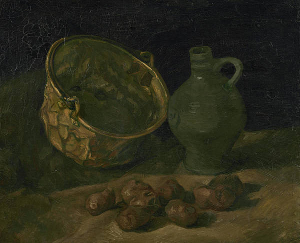 Potato Painting - Still Life With Brass Cauldron And Jug by Vincent Van Gogh