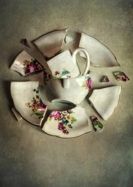 Photograph - Still Life With Broken Teaset by Jaroslaw Blaminsky