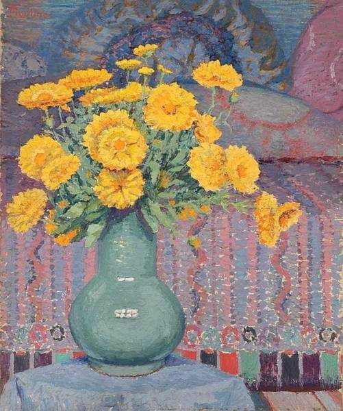 Wall Art - Painting - Still Life With Calendula By Ernest Moulines 1870-1942 by Ernest Moulines
