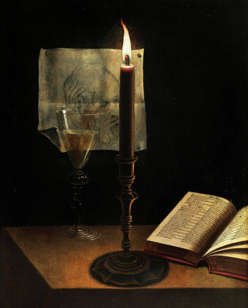 Wall Art - Painting - Still Life With Candle by Unknown