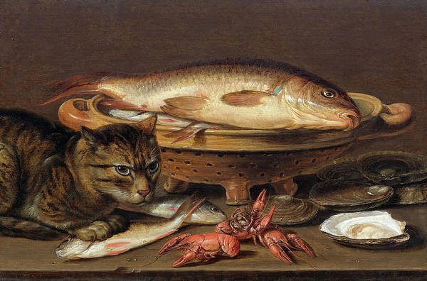 Wall Art - Painting - Still Life With Cat, Fish, Oysters And Crayfish by Clara Peeters