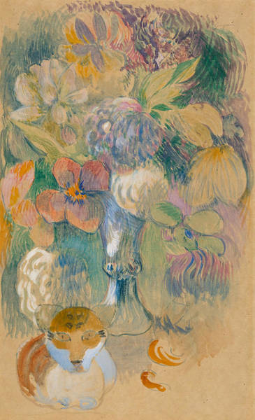 Wall Art - Drawing - Still Life With Cat by Paul Gauguin