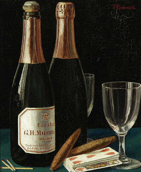 Payment Painting - Still Life With Champagne, Cigars, And A Pack Of Playing Cards by Victor Dubreuil