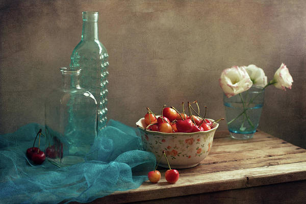 Vase Of Flowers Photograph - Still Life With Cherries And Blue by Copyright Anna Nemoy(xaomena)