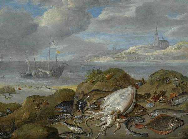 Painting - Still Life With Cuttlefish, Plaice, Cod, Mussels And Other Fish On A Dune by Jan van Kessel the Elder
