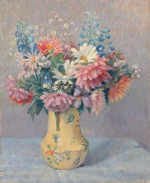 Wall Art - Painting - Still Life With Daises By Ernest Moulines 1870-1942 by Ernest Moulines