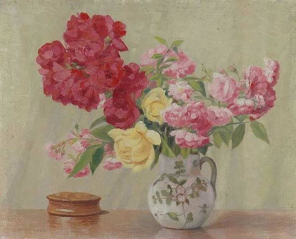 Wall Art - Painting - Still Life With Different Roses By Ernest Moulines 1870-1942 by Ernest Moulines