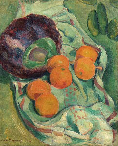 Wall Art - Painting - Still Life With Fan Of Feathers, Oranges And Towel by Emile Bernard