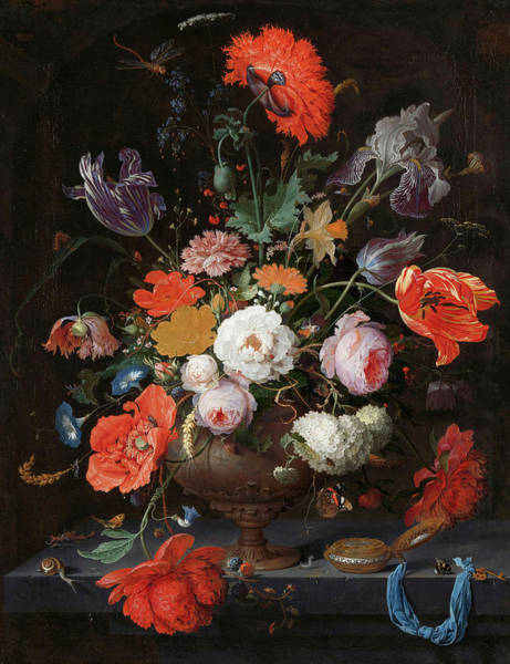 Wall Art - Painting - Still Life With Flowers And A Watch, 1679 by Abraham Mignon