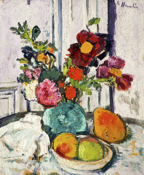Wall Art - Painting - Still Life With Flowers And Fruit, 1926 by Leslie Hunter