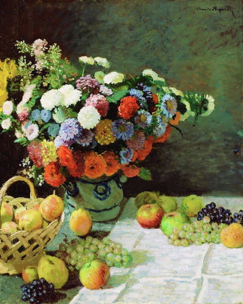 Tasty Painting - Still Life With Flowers And Fruit - Digital Remastered Edition by Claude Monet