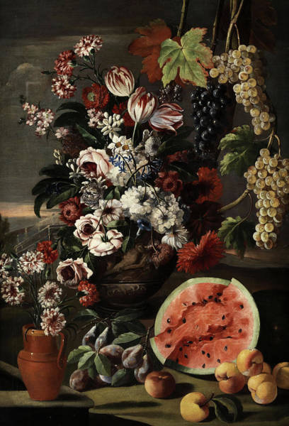 Tulip Bloom Painting - Still Life With Flowers And Fruits by Franz Werner von Tamm