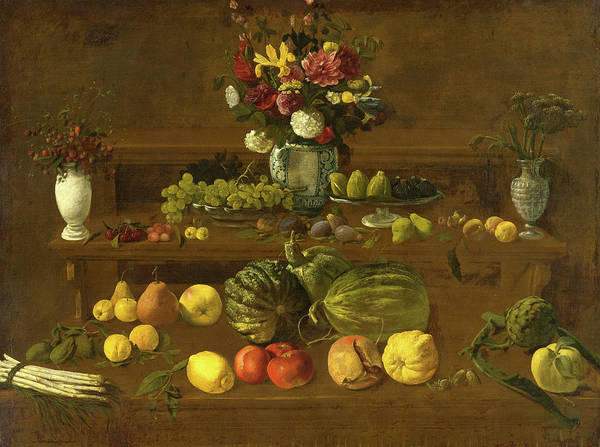 Gladiolus Painting - Still Life With Flowers, Fruit And Vegetables by Giovanni Battista Crescenzi