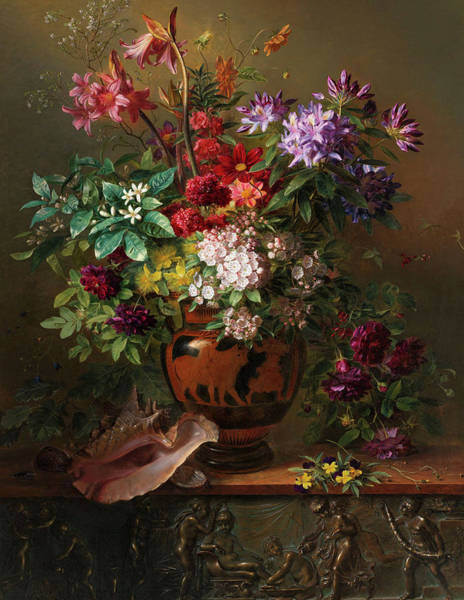 Tulip Bloom Painting - Still Life With Flowers In A Greek Vase Allegory Of Spring, 1817 by Georgius Jacobus Johannes van Os