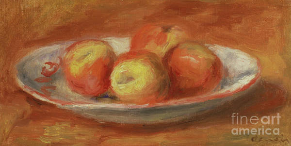 Wall Art - Painting - Still Life With Four Apples On A Plate, 1914 by Pierre Auguste Renoir