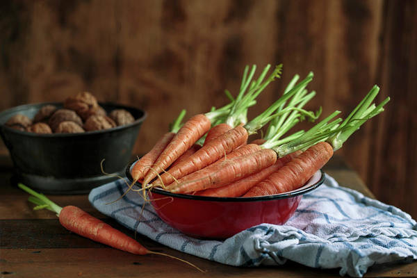 Green Vegetable Photograph - Still Life With Fresh Carrots Amd Walnuts by Nailia Schwarz