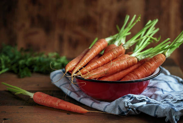 Green Vegetable Photograph - Still Life With Fresh Carrots by Nailia Schwarz