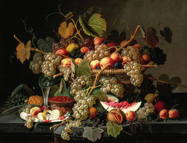 Wall Art - Painting - Still Life With Fruit, 1852 by Severin Roesen
