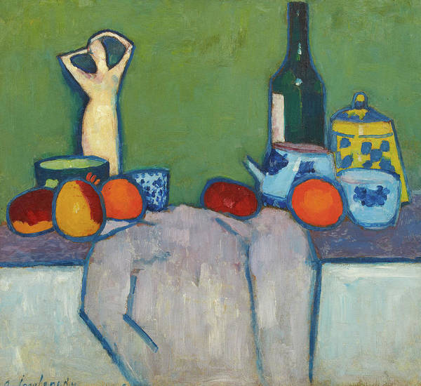 Wall Art - Painting - Still-life With Fruit, Figure And Bottle, 1907 by Alexej von Jawlensky