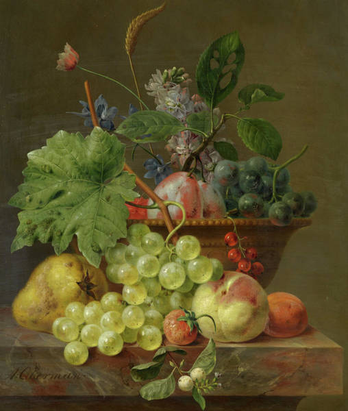 Wall Art - Painting - Still Life With Fruit In A Terracotta Dish by Anthony Oberman