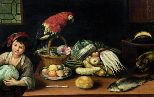 Red Onion Painting - Still Life With Fruit, Parrot, Fish And Vegetables by Gottfried Libalt