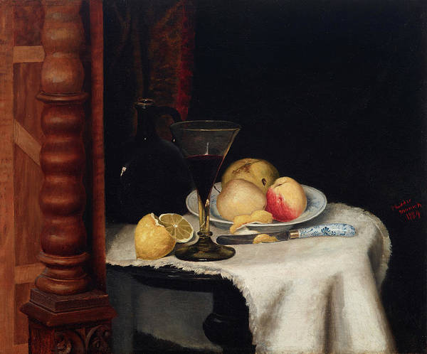 Apple Peel Wall Art - Painting - Still Life With Fruit by William Henry Huddle