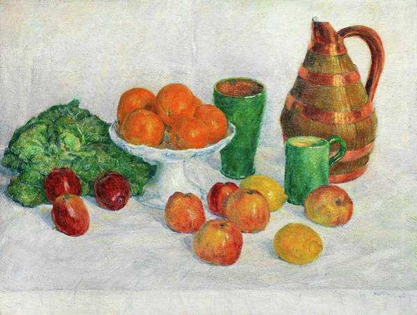 Gladiolus Painting - Still Life With Fruits And Vegetables by George Morren