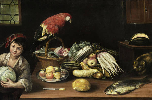Wall Art - Painting - Still Life With Fruits And Vegetables by Gottfried Libalt