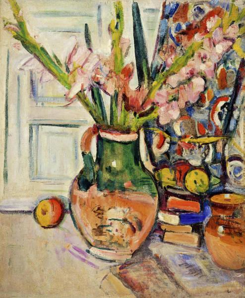 Gladiolus Painting - Still Life With Gladioli by George Leslie Hunter