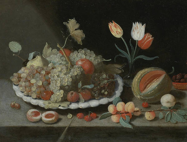 Painting - Still Life With Grapes And Other Fruit On A Platter, by Jan van Kessel the Elder