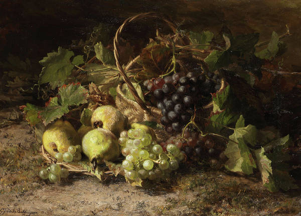 In Service Painting - Still Life With Grapes And Pears by Geraldine Jacoba van de Sande Bakhyuzen