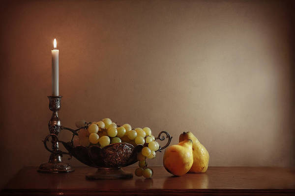 Quince Photograph - Still Life With Grapes And Quinces by By Vesi 127
