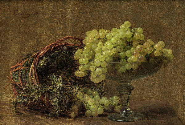 Painting - Still Life With Grapes In A Glass Bowl And A Basket With Herbs by Henri Fantin-Latour