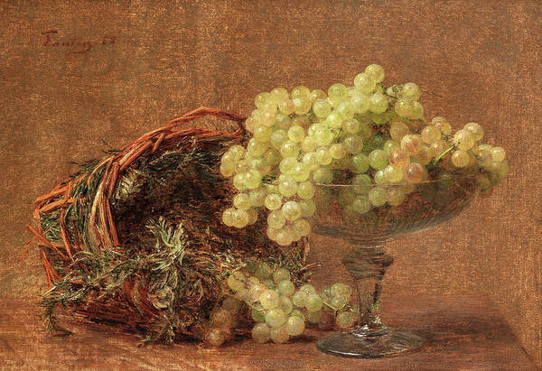 In Service Painting - Still Life With Grapes In A Glass Vase And A Basket Of Herbs by Henri Fantin-Latour