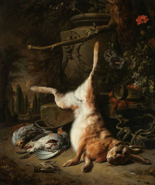 Painting - Still Life With Hare And Other Hunting Booty by Jan Weenix