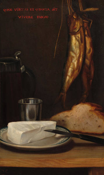 Gabriel Painting - Still Life With Herring, Bread, And Cheese, 1858 by Alexandre-Gabriel Decamps