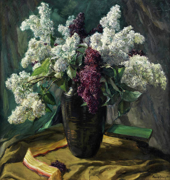 Wall Art - Painting - Still Life With Lilac by Wilhelm Hempfing