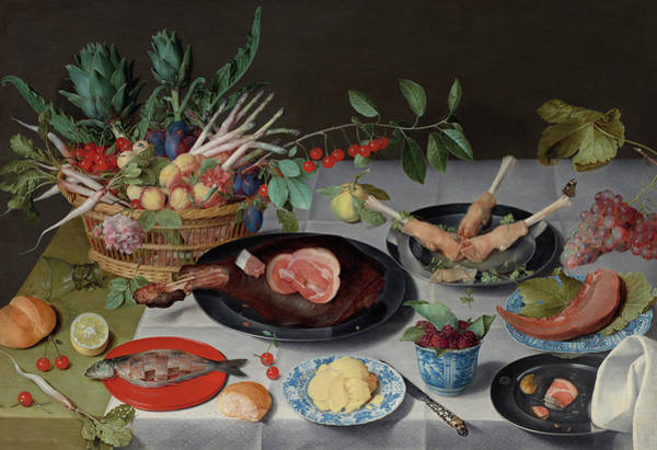 Hunger Painting - Still Life With Meat, Fish, Vegetables And Fruit, 1620 by Jacob van Hulsdonck